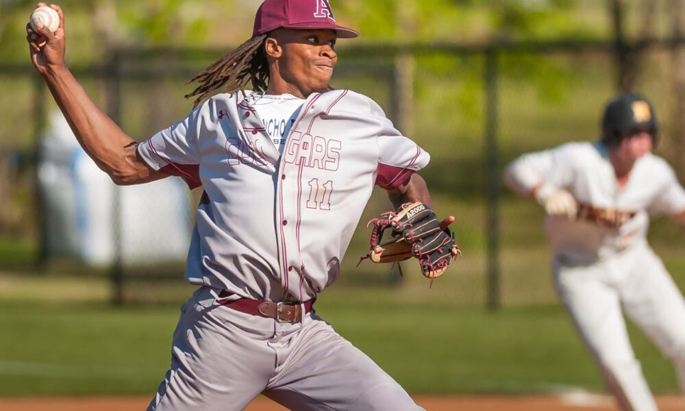 Richard R. Barron | The Ada News - Ada junior Kaden Cooper pitched seven superb innings against in the Cougars' tough 2-1 loss to a talented Blanchard team Tuesday night at Cougar Field. He struck out five, didn't walk a batter and allowed just one earned run and three hits.
