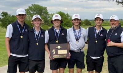 The Ada High boys golf team won a Class 4A Regional championship Monday at the Prairie West Golf Club in Weatherford. Team members include, from left to right: David Johnson, David Anderson, Mack Weems, Michael Huff, Derek Layton and head coach Robbie Powell.