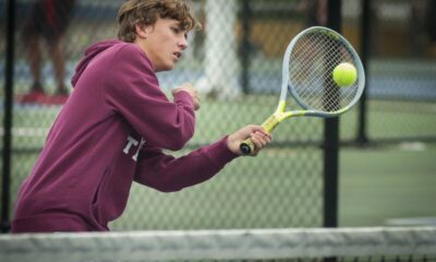Richard R. Barron - The Ada News -- Ada freshman Jackson Swopes and fellow freshman Tate Danielson defeated the McAlester team of Alhtoba Haynes and Dustin Wall 6-4, 6-4 in a tense third-place match Tuesday at the weather-delayed Ada Tennis Tournament.