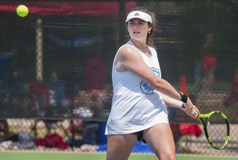 Richard R. Barron   The Ada News -- Ada sophomore Ava Bolin and partner Ahna Redwine finished as runners-up in No. 2 Doubles at the Class 5A State Tournament last weekend at the Oklahoma City Tennis Center.